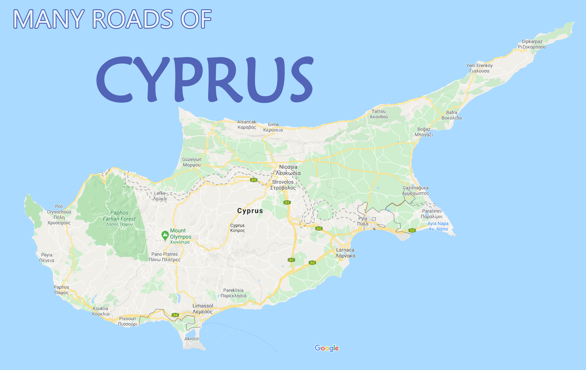 The many roads of Cyprus for Paphos taxi